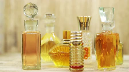 Several vintage bottles of perfumes Stok Video