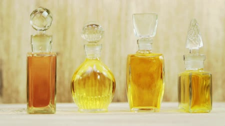 Vintage bottles of perfumes with the glass stoppers
