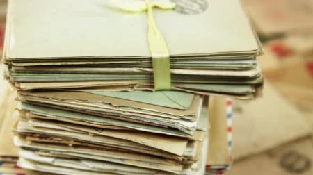 Pile of the old postal paper. Envelopes are stamped: Viewed by military censorship Stok Video
