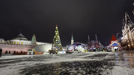 quadrado : Moscow Red Square in winter. Night panorama.  Vídeos