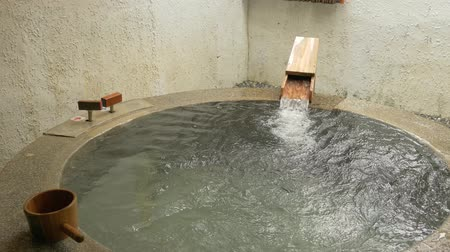 flowing water of hot spring with nobody Stok Video