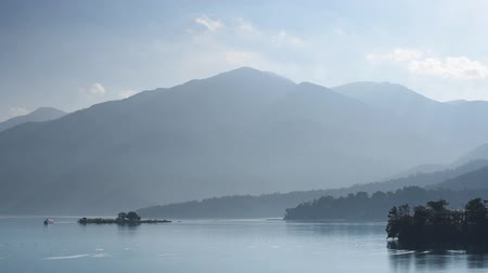 scenery of Sun Moon Lake, the famous attraction at Taiwan, Asia Stok Video