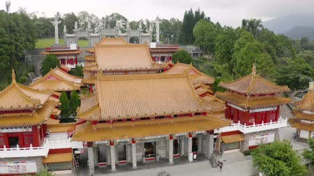 drone view of famous attraction Wenwu temple at Sun Moon Lake in Taiwan