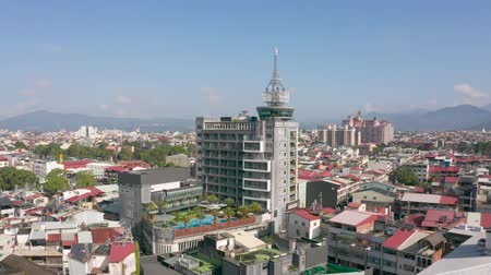 aerial view of Puli town with buildings in the daytime, Nantou, Taiwan Stok Video
