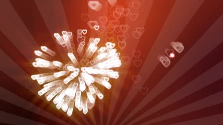 kalp şekli : heart shaped fireworks - Valentines day hearts animation