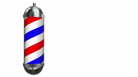 Barber Pole sign rotate on white and free space on right side for design and text Stok Video