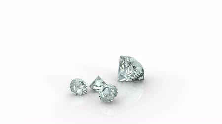 Big and small diamonds rotate isolated on white background Stok Video