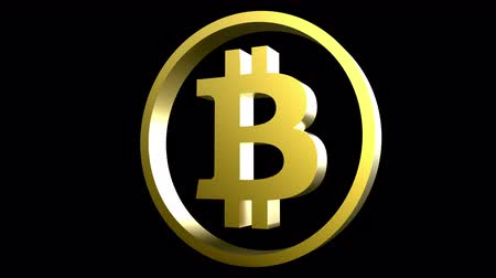 Bitcoin golden sign rotate isolated on black background