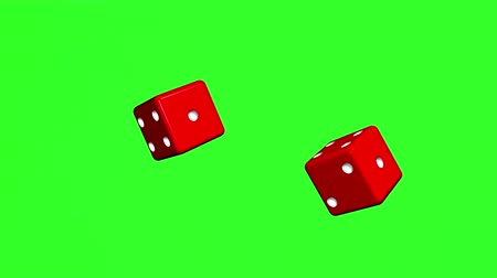 Red Roll Dice rotate and fall on green background Stok Video