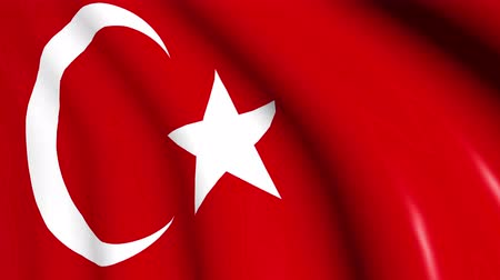 Turkey flag waving on wind, close up. 3D illustration