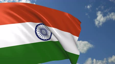Indian flag waving on wind, close up. 3D Rendering and illustration