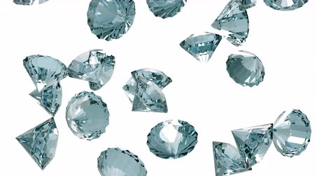 faceta : Slowly falling diamonds isolated on white background. 3D rendering Vídeos