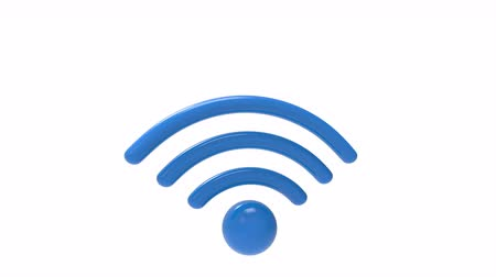 Blue wifi sign rotate and fall isolated on white background. Internet concept. 3d illustration Stok Video