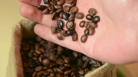 Male hand holding coffee beans and check quality. Rolling and swirl roasted coffee in retro bag. Close up, selective focus