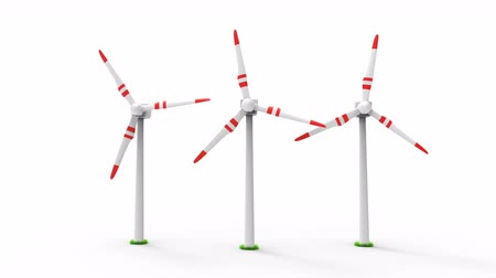 Wind turbine working and make green energy isolated on white background. Alternative and green energy concept animation. 3D rendering illustration