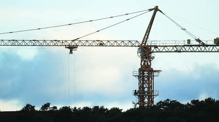 site : Construction site with working tower crane Stock Footage