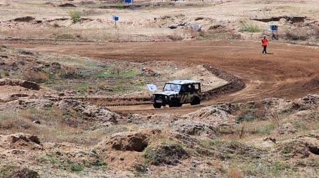 ралли : Safety car on rally cross track in russian province