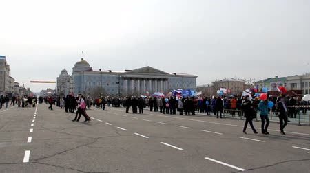 CHITA, RUSSIA - MAY 1: People in Lenins square during May Day political demonstration. May 1, 2012