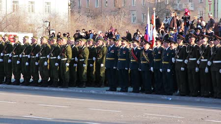 bearer : CHITA, RUSSIA - MAY 9: The parade of Chita garrison of Eastern Military District in honor of Victory Day. May 9, 2012 Stock Footage