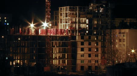 site : Construction site in the night timelapse