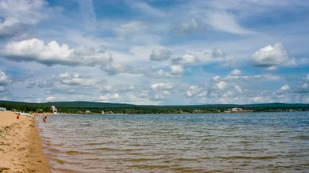 Siberian lake shoreline with waves. Shot in RAW, wide dynamic range