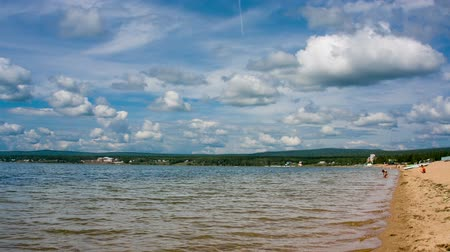 Siberian lake shoreline timelapse with waves. Shot in RAW, wide dynamic range