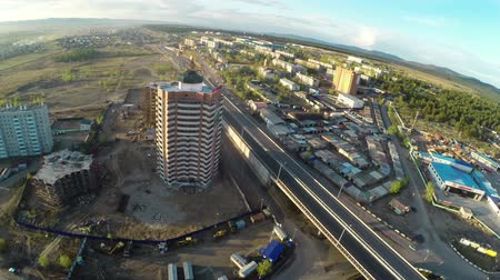 CHITA, RUSSIA - MAY 18: Building construction site shot from unmanned aerial vehicle