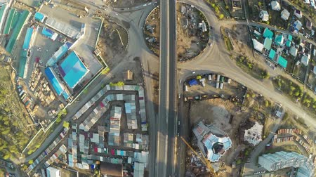 pontos : Construction site with crane  and highway shot from UAV quadcopter