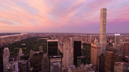 flatiron building : Central Park and Buildings Sunset Timelapse New York City