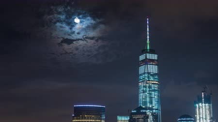 flatiron building : Lower Manhattan, New York Freedom Tower and Moon Rise Night Timelapse Stock Footage