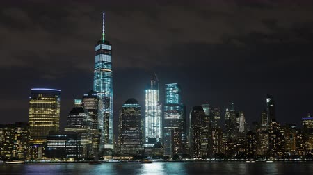 império : Lower Manhattan and Freedom Tower and Boats Night Timelapse New York Stock Footage