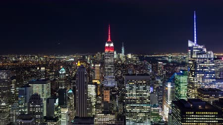 freiheit : Manhattan und Empire State Building Night Timelapse New York City