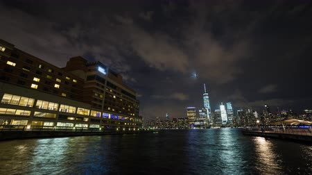 flatiron building : Lower Manhattan New York City view from Jersey City Wide Night Timelapse Stock Footage