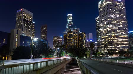 us bank tower : Downtown Los Angeles at Night Motion Controlled Timelapse Stock Footage