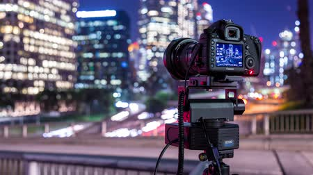 us bank tower : Canon Camera Shooting Timelapse Photography in Downtown Los Angeles Stock Footage