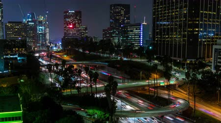 us bank tower : Downtown Los Angeles 110 Freeway Rooftop Aerial Night Timelapse