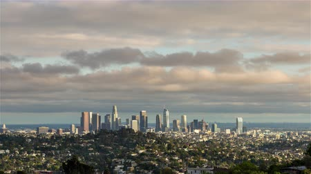 jam : Downtown Los Angeles and Clouds Winter Day Timelapse Stock Footage