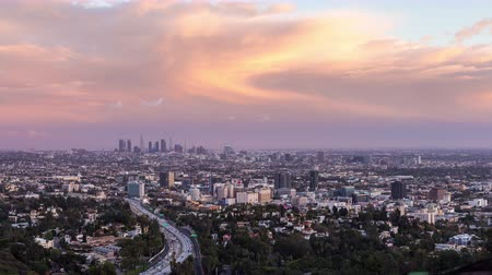 us bank tower : Los Angeles Day To Night Pink Sunset Timelapse