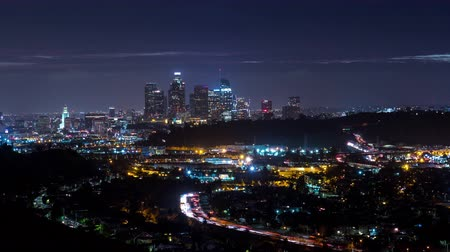 us bank tower : Downtown Los Angeles and 110 Freeway Night Timelapse