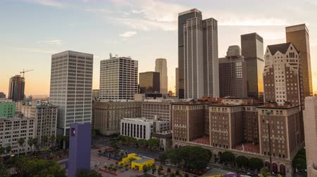 eatery : Downtown Los Angeles Skyline and Pershing Square Day To Night Sunset Timelapse Stock Footage