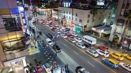 tiyatro : Hollywood Boulevard at Night Timelapse Stok Video