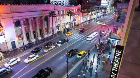 estrella : Hollywood Boulevard en la noche Timelapse Archivo de Video