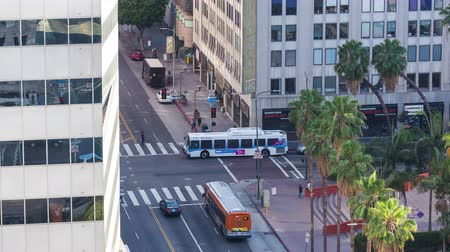 eatery : 6th Street in Downtown Los Angeles Traffic Intersection Day Timelapse Stock Footage