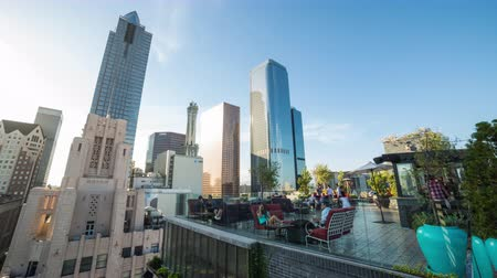 eatery : Perch Rooftop and Downtown Los Angeles Buildings Day Timelapse Stock Footage