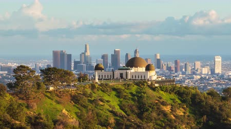 us bank tower : Los Angeles and Griffith Observatory Day To Night Timelapse Stock Footage
