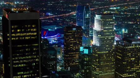 us bank tower : Downtown Los Angeles Staples Center LA Live Night Aerial Rooftop Timelapse Stock Footage