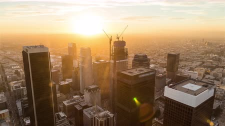 us bank tower : Downtown Los Angeles Day To Night Aerial Rooftop Timelapse