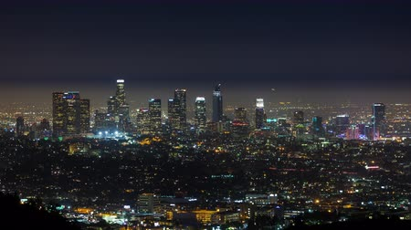 us bank tower : Downtown Los Angeles Skyline Night Timelapse Stock Footage