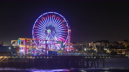 us bank tower : Santa Monica Pier, Pacific Park California Ferris Wheel Night Timelapse