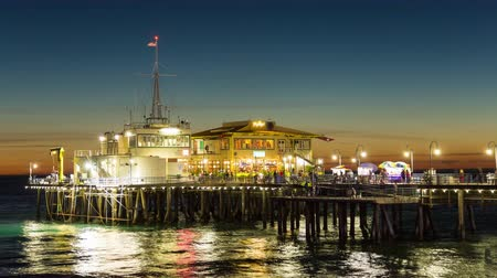 us bank tower : Santa Monica Pier, Los Angeles End of Pier Restaurants Dusk Timelapse